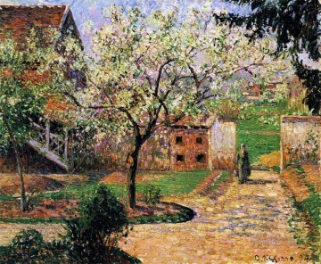 flowering plum tree eragny 1894 Camille Pissarro scenery Oil Paintings